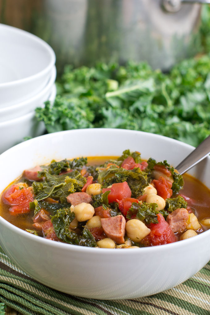 Quick Kale and Kielbassa Soup
