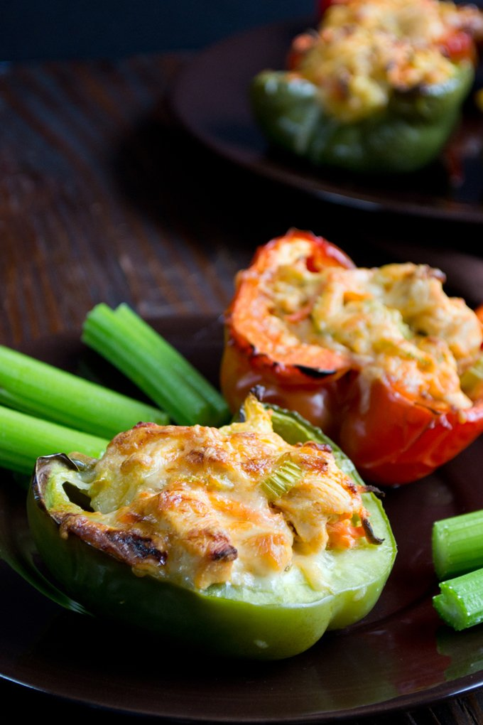 Wing sauce, chicken, ranch dressing, carrots and celery - but it\'s not wing night. It\'s stuffed pepper night! You are not going to believe how delicious these are. Or how easy they are to make.