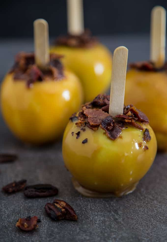 Apple Cider Bourbon Caramel Apple with Bacon