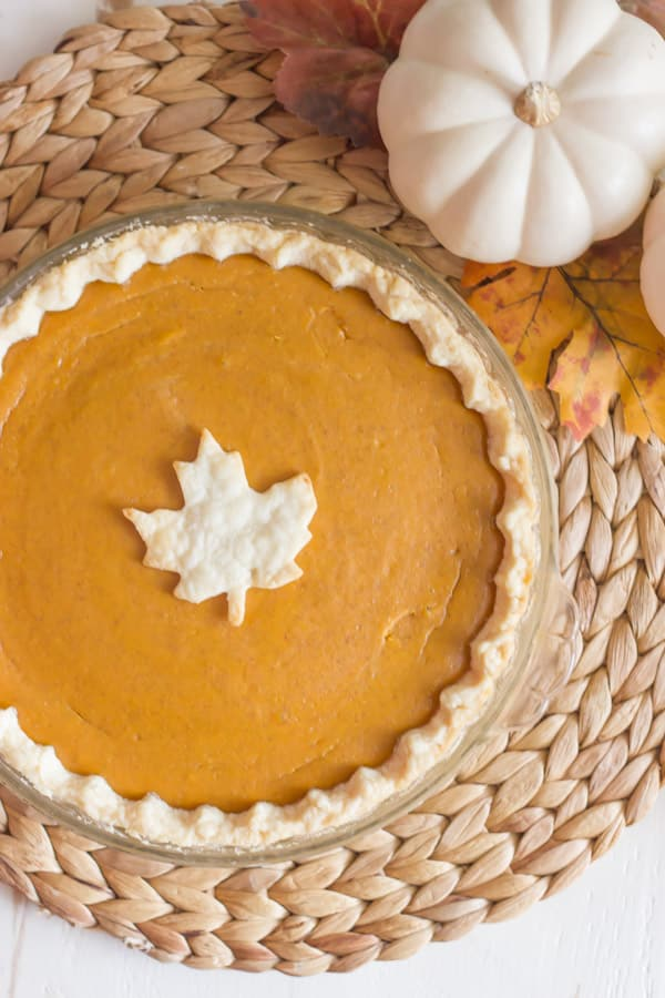 Pumpkin Pie with Leaf