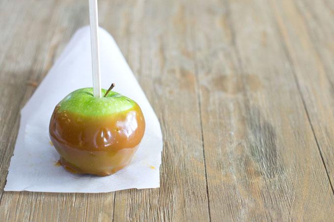 Caramel Apple Dip on an Apple