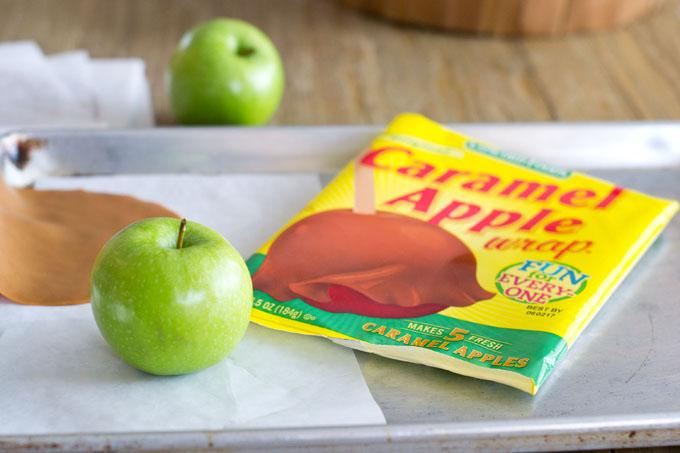 Caramel apple wraps, a caramel apple-making kit