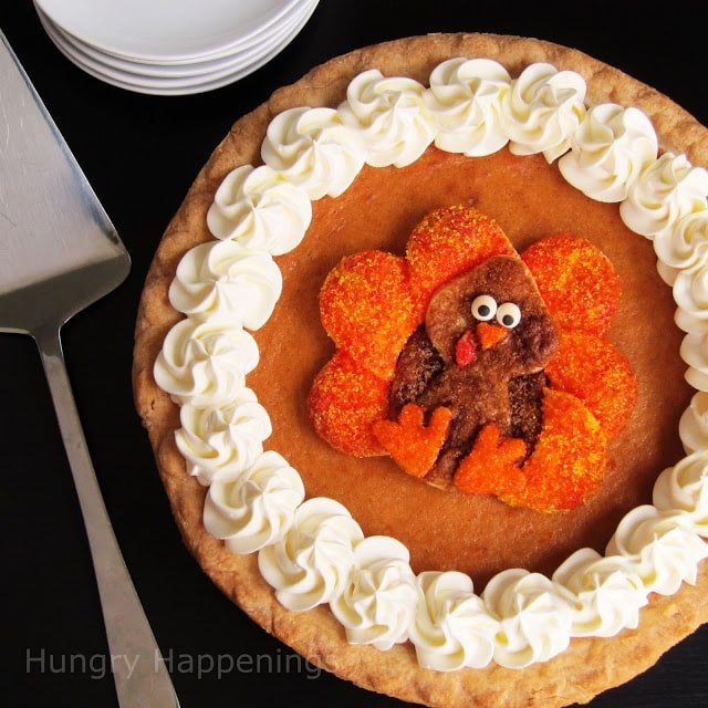 Pumpkin Pie with a Turkey