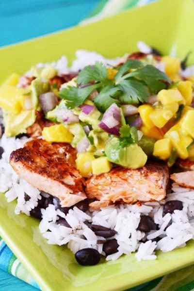 Caribbean Salmon Freezer Meal with Mango Salsa