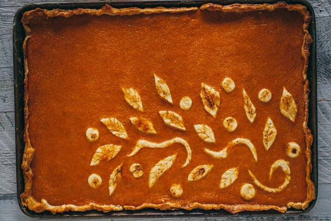 Pumpkin Slab Pie Decorated with Leaves and Vines