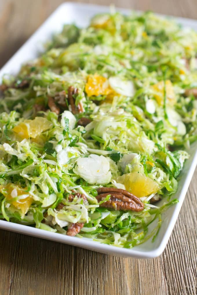 Brussels Sprouts Slaw with Orange and Pecans