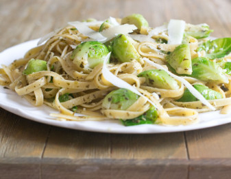 Brussels Sprouts with Pasta, Pesto and Pecorino