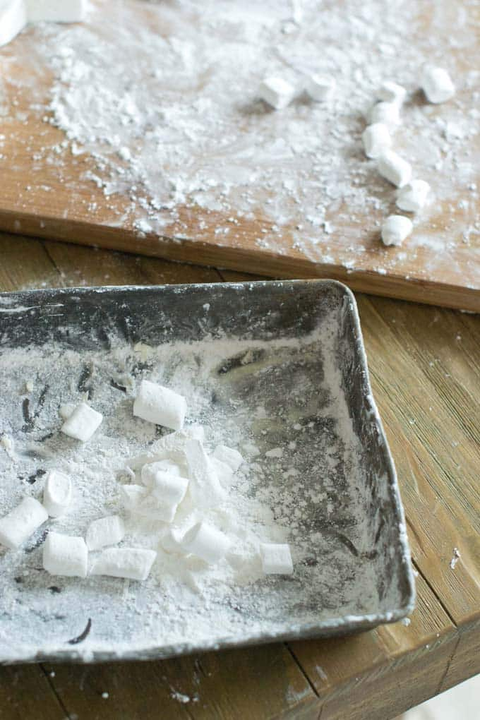 Marshmallows tossed with cornstarch mixture.