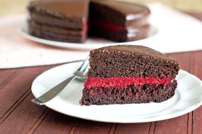 Ganache on a cut cake