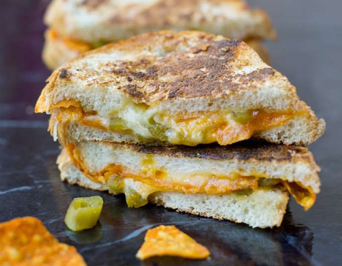 Cheese. Jalapenos. And...Doritos! This grilled cheese is insane. And so so good.