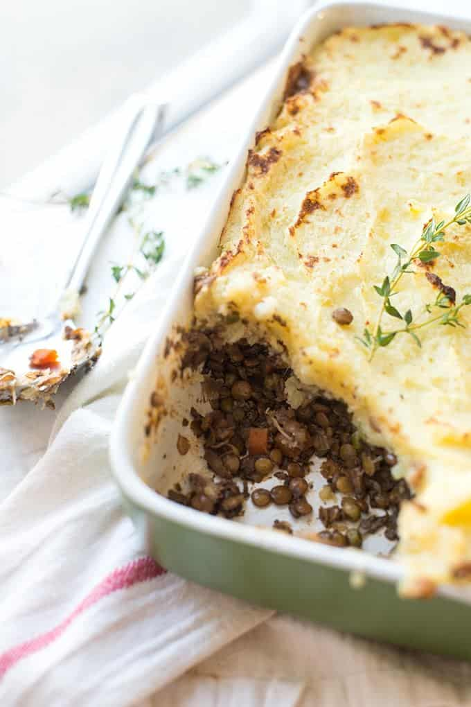 This is the perfect Vegetarian Shepherd's pie. It's protein-packed and full of comfort.
