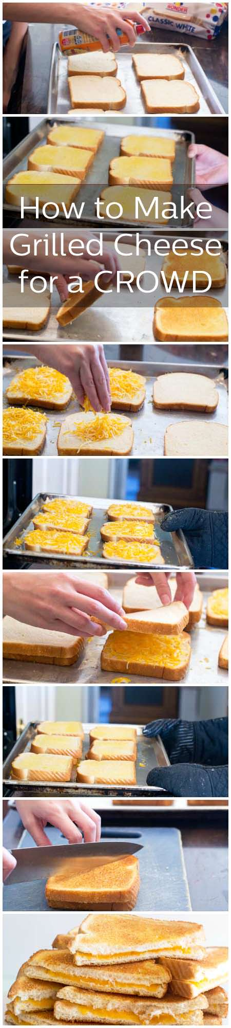Learn how to use your broiler to whip up a big batch of grilled cheese sandwiches for a crowd with little fuss. You're not going to believe how quick and easy this is.