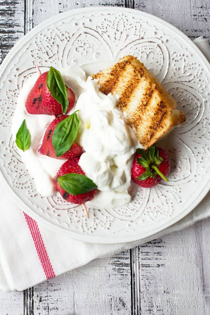 Grilled Strawberry Shortcake with Basil Whipped Cream