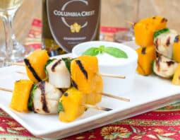 Grilled Scallops, Butternut Squash and Basil Skewers with Garlic Dip