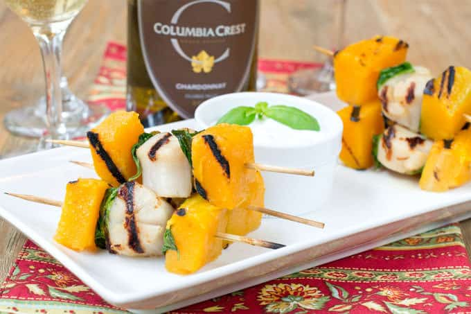 Grilled Scallops Butternut Squash And Basil Skewers