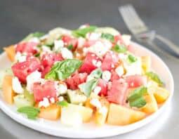 Melon Feta And Basil Salad