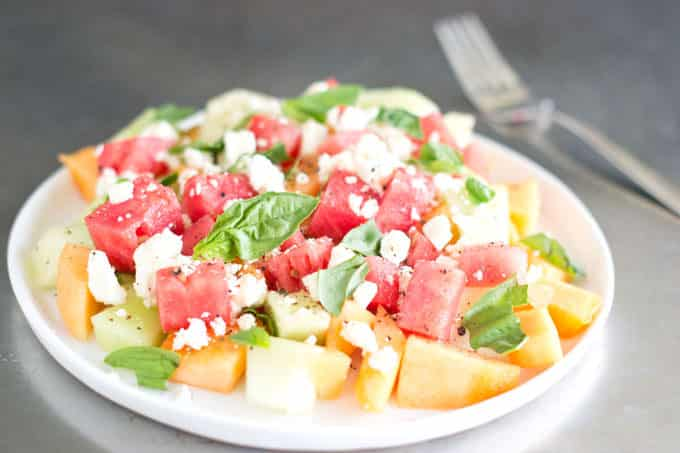 Melon, Feta and Basil Salad