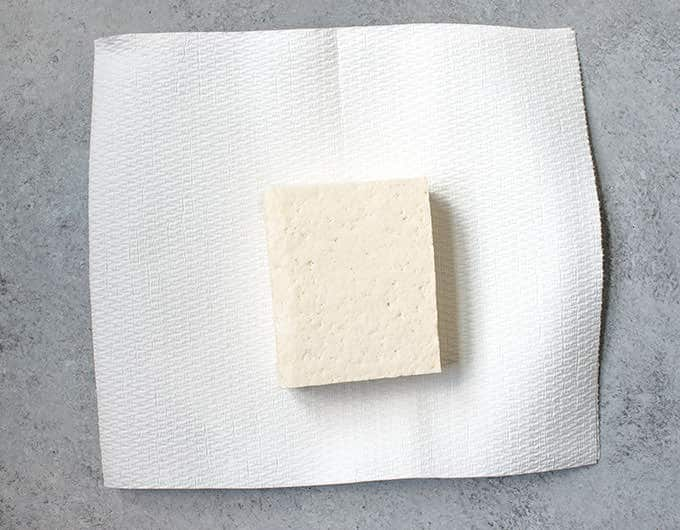 Put Tofu Block on Towel