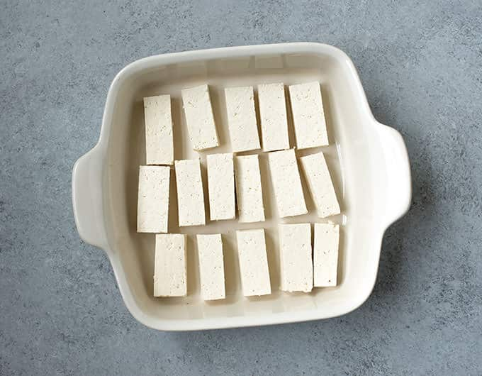 Cut Tofu in Rectangles
