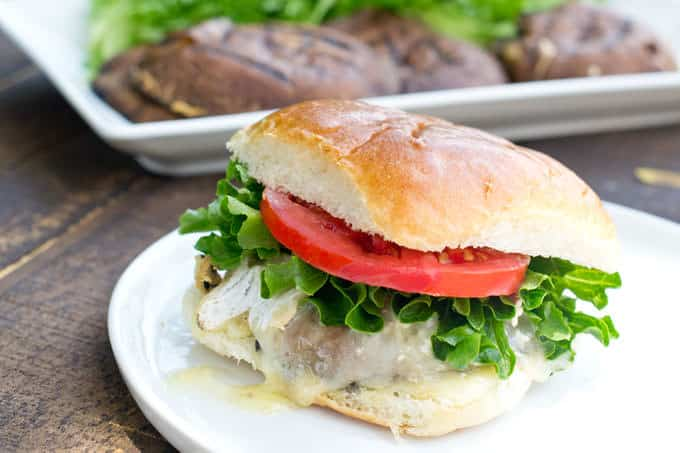 Vegetarian Portobello Burgers with Brie