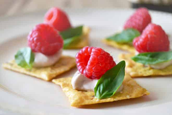 Raspberry and basil canapes for Hot canape ideas