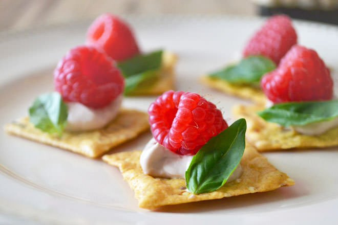Raspberry and basil canapes for Appetizer canape