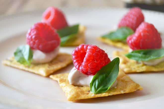 Raspberry and basil canapes for Canape ingredients