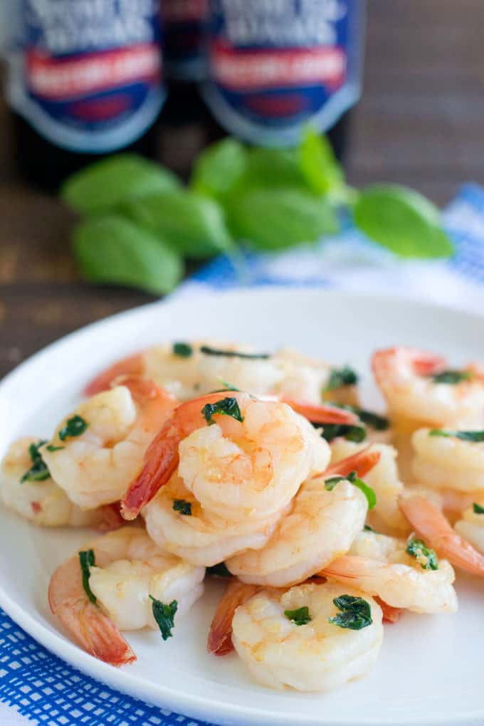 This is the best shrimp marinade ever, with beer and basil. Those flavors with the shrimp are just plain amazing.
