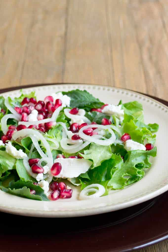 Vidalia Onion Salad with Pomegranate and Goat Cheese