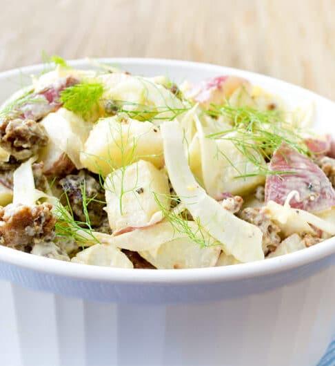 Potato Salad with Sausage, Vidalia Onion and Fennel