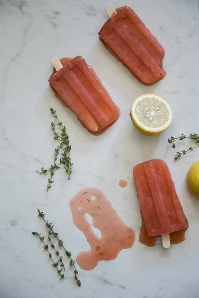 Strawberry Lemonade Popsicles with Wine