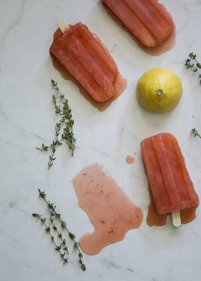 Grown Up Strawberry Lemonade Popsicles