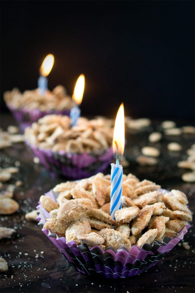 Have a Halloween birthday party? Birthday cake pumpkin seeds...heck yes! Just add the balloons and presents.