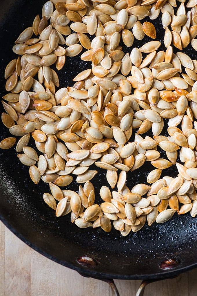 Stove-top toasted pumpkin seeds
