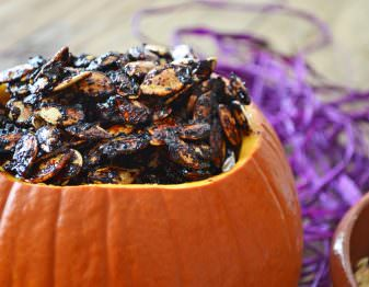 Sticky Sweet Sriracha Roasted Pumpkin Seeds
