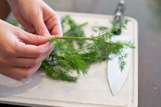 remove leaves from dill