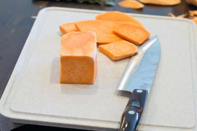 Square the sweet potato