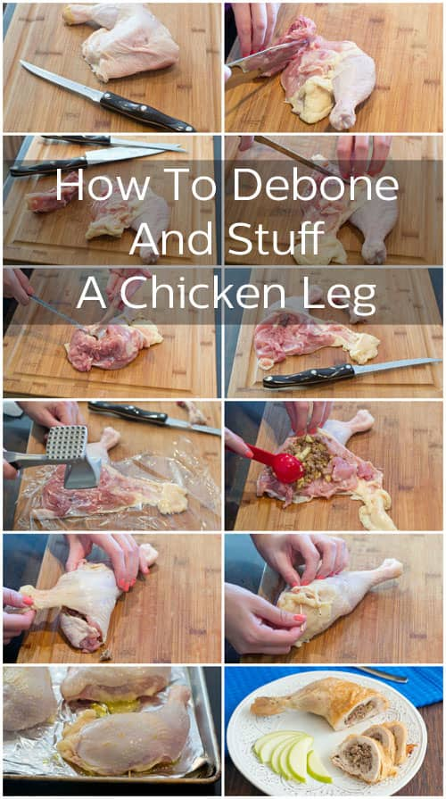 Learn how to debone and then stuff the thigh of a chicken leg for a delicious recipe and beautiful presentation.