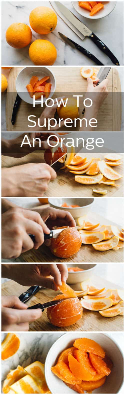 "How to cut an orange into pretty segment. This technique is called ""Supreming"""