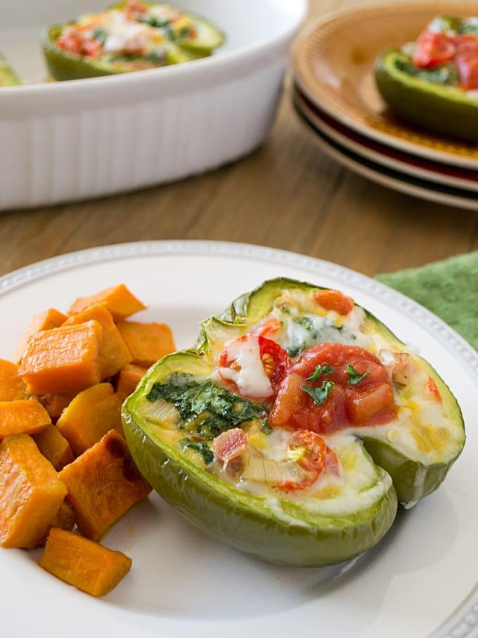 Kale & Bacon Breakfast Stuffed Peppers