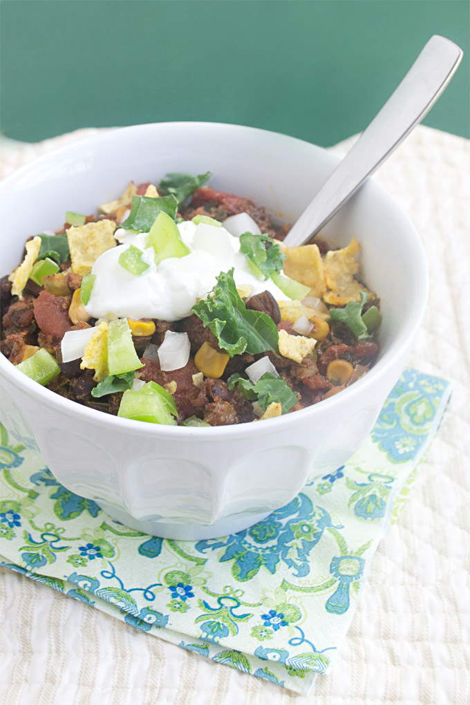 You are not going to believe how little work is involved in making this delicious slow cooker chili that features ground turkey and kale.