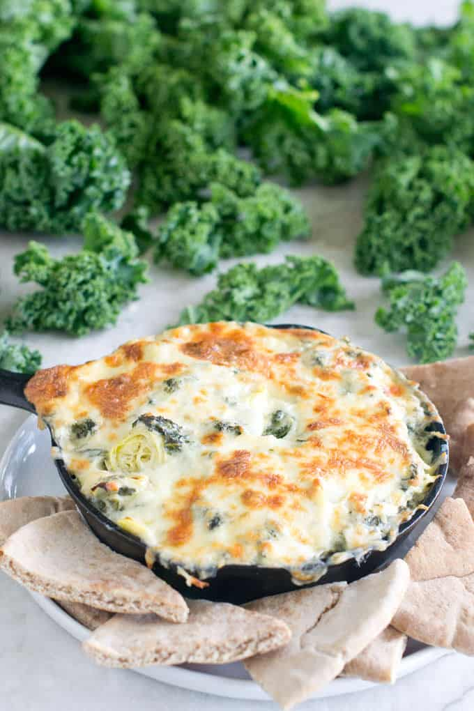 Need an idea for a holiday potluck? Make our Kale Artichoke Dip. It's a twist on the classic spinach dip but made with kale.