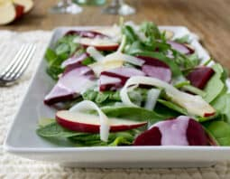 Beet and Kale Salad with Apples and Creamy Tangy Dressing