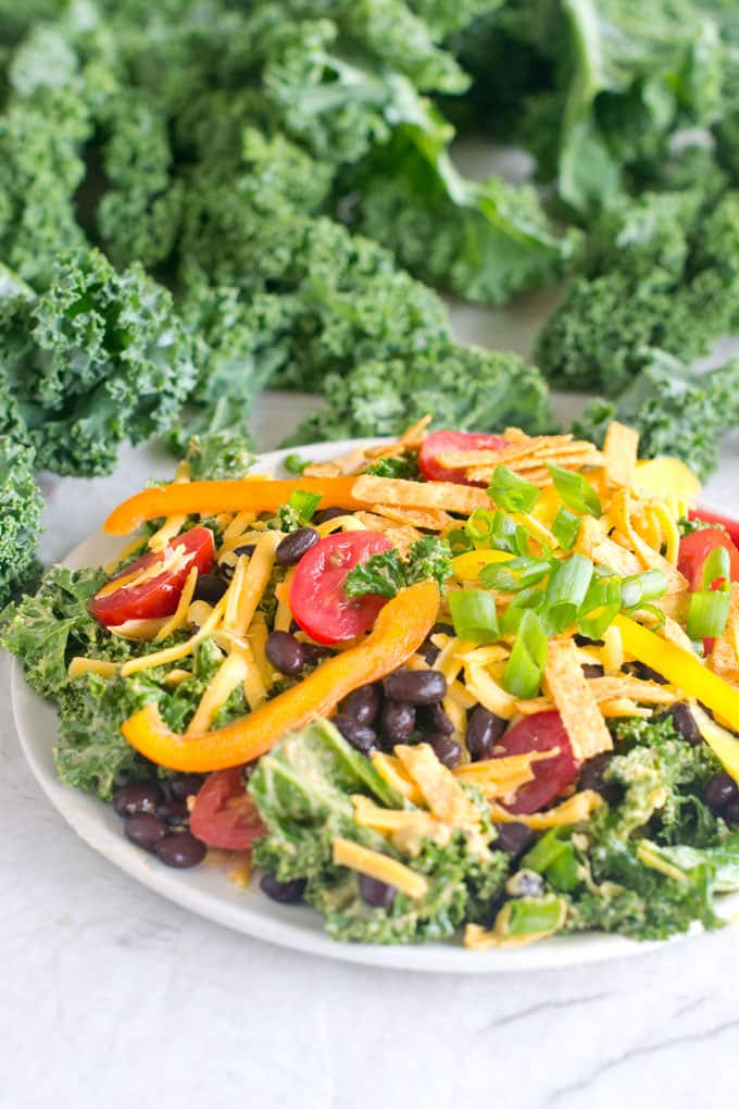 Kale Taco Salad with Chipotle Avocado Dressing
