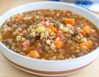 Get our delicious recipe for Beef and Farro Soup. The farro retains its texture even the next day making this a great alternative to barley in soup.