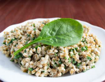 Farro is so healthy and good for you that you can splurge a bit when eating it. This recipe is made creamy with cream cheese. Yum!