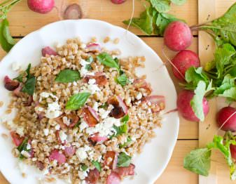 Get our delicious recipe for this hearty and healthy salad made with farro and roasted radishes.