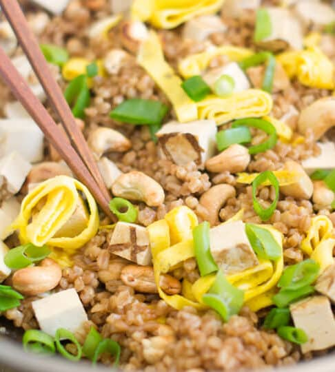 Replace the rice with farro in this fried rice recipe. It's so tasty and good for you too.