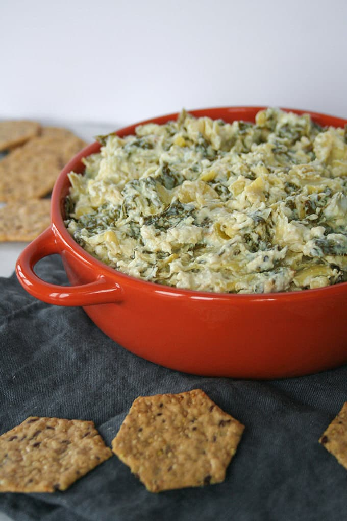 Spinach artichoke dip is made super tasty with fresh spinach and super easy, thanks to your trusty slow cooker.