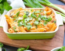 Cheesy. Creamy. Spicy. Buffalo Chicken Pasta. Bam!